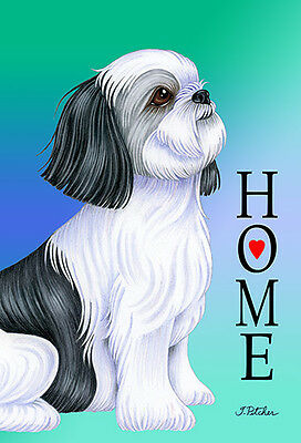 Large Indoor/Outdoor Home (TP) Flag - Black & White Shih Tzu 62011