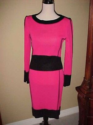 Exclusively Misook Color Block Dark Pink & Black Dress Long Sleeve Extra Small