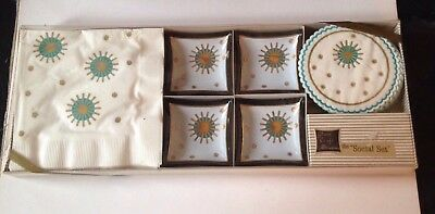 Vintage 50s Atomic Paper Napkin Retro Mid Century Modern Ashtray Hostess Set