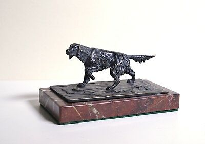 Figural Russian Hunting Setter Hound Bronze Paperweight 19C Antique