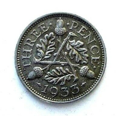 Great Britain Uk Coins, Threepence 1933, George V, Silver 0.500