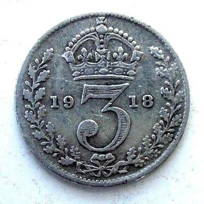 Great Britain Uk Coins, Threepence 1918, George V, Silver 0.925