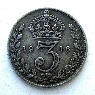 Great Britain Uk Coins, Threepence 1916, George V, Silver 0.925