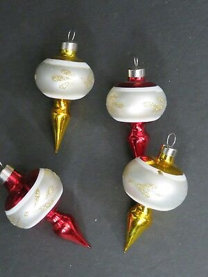 Lot of 4 Small Vintage Glass Christmas Ornaments  (C-3)