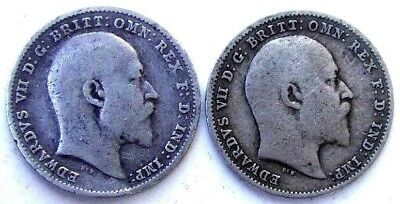 Great Britain Uk Coins, Threepence 1902 & 1908, Edward Vii, Silver 0.925