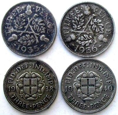 Great Britain Coins, Threepence 1935 & 1936 & 1938 & 1940, Silver 0.500