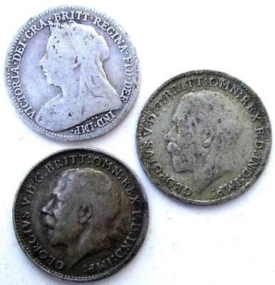 Great Britain Coins, Threepence 1900 & 1918 & 1921, Victoria, George V, Silver