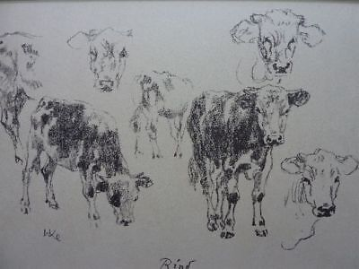 """WALTHER KLEMM - Original Lithographie 1943 """"Rind"""" !!"""