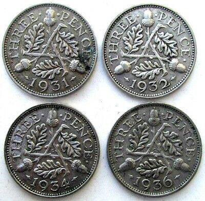 Great Britain Coins, Threepence 1931 & 1932 & 1934 & 1936, George V, Silver 0.50