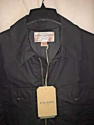 New With Tags Filson Made In Usa Black Wax Cotton Jacket L $325
