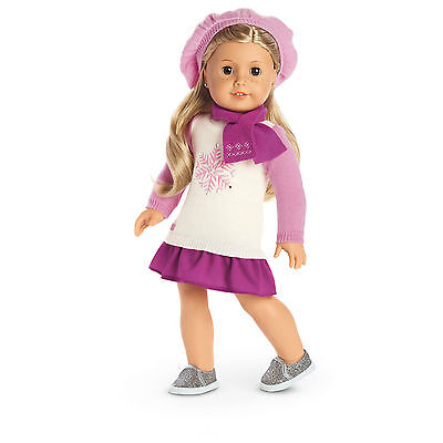 New American Girl Snow Good To See You Sweater Dress Outfit Hat Scarf Authentic