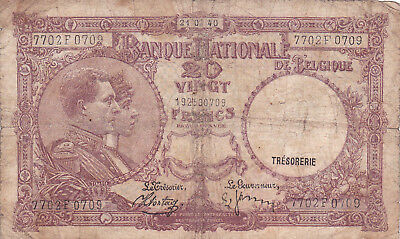 20 Francs Vg Banknote From  Belgium 1940!pick-111