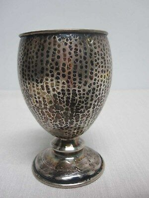 Antique Sterling Silver Hand Hammered Judaica Kiddish Cup 4 1/2""