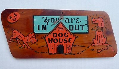 Vintage Mid-Century Homespun Wood Wall Plaque You Are IN /OUT The Dog House VGC