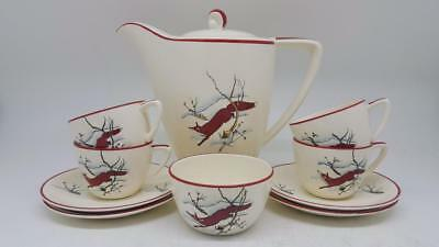 Very Rare Crown Devon Fieldings REYNARD FOX Stockholm Style Coffee Cups Pot Set
