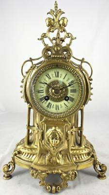Lovely antique French solid gilt bronze 8 day bell strike mantle clock by Marti