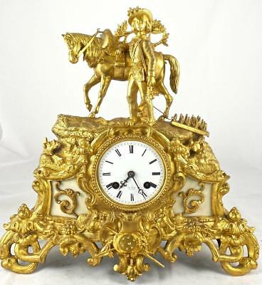 Antique French early 1800's gilt ormolu bronze Horse mantle clock by Henri Marc