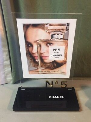 "Chanel No 5 Paris Xxl Big Plexiglass Display Perfume Holder Piece 13"" By 19"""