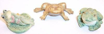 Lot of 3 Small Frog Figurines, 2 Resin and 1 Brass