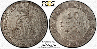 Pcgs Ms-63 French Guiana 10 Centimes 1846 (Scarce This Nice!)