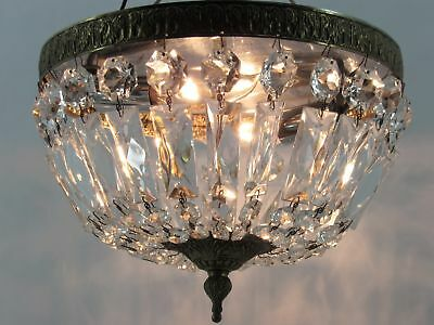 Vintage Flush Mount Italian Crystal Chandelier