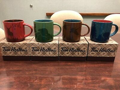 New 2017 TIM HORTON CHRISTMAS COFFEE MUGS SET OF 4  BEAR MOOSE GOOSE BEAVER RARE