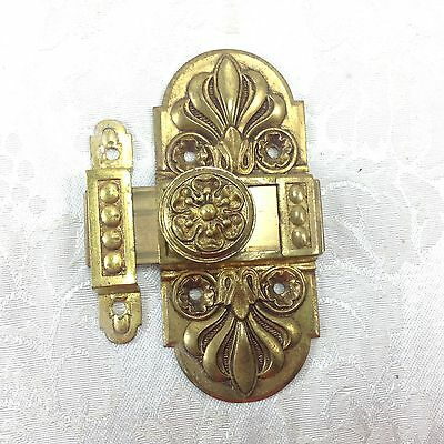 Antique Vintage French Ornate Victorian Style Sliding Cabinet Door Latch with Ca