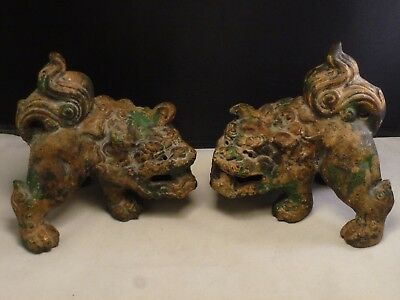 Chinese Foo Dogs or Lions, Bronzed Metal Pair VINTAGE  OLD   ESTATE ITEM BRONZE