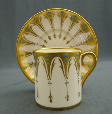 Royal Chelsea England Bone China GOTHIC Heavy Gold Blue Demi Coffee Cup & Saucer