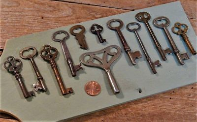 Antique Lot of 12 Skeleton Keys Heart Shaped - One dated 1898!