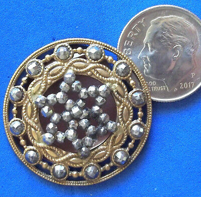 "Victorian brass CUT STEEL button ornate 1.1/8"", riveted vintage antique"