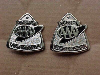 2  Vintage AAA School Safety Patrol Badges, Excellent-Free Shipping!