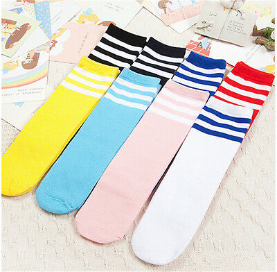 Boys Girls Toddler Kids Knee High Length Cotton Stripes School Sport Sock ATAU