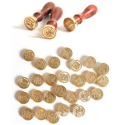 Wholesale Retro Classic Wood Sealing Wax Seal Stamp Initial Alphabet Letter 26
