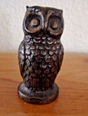 2 1/2 Inch Tall Molded Metal OWL Figure - Estate Sale - Unknown Metal -Unbranded