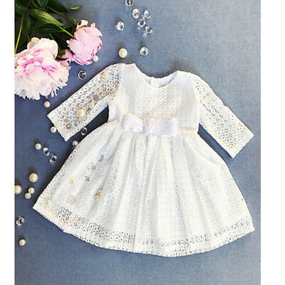 New Toddler Baby Girls Dress Long Sleeve Pageant Princess Party Floral Dresses w