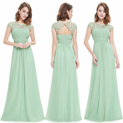 Ever-pretty Long Chiffon Cap Sleeve Prom Gowns Formal Evening Party Dress 09993