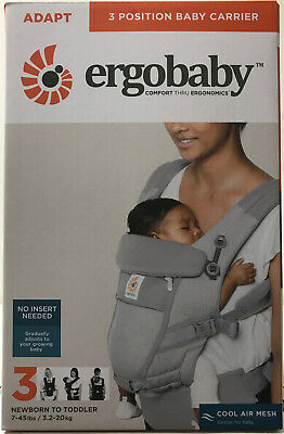 Ergobaby Adapt 3 Position Infant Child Baby Carrier Cool Air Mesh Pearl Grey NEW