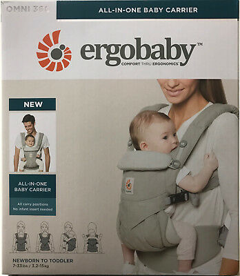 Ergobaby Omni 360 4 Position Infant Child Baby Carrier Pearl Grey NEW AUTHENTIC