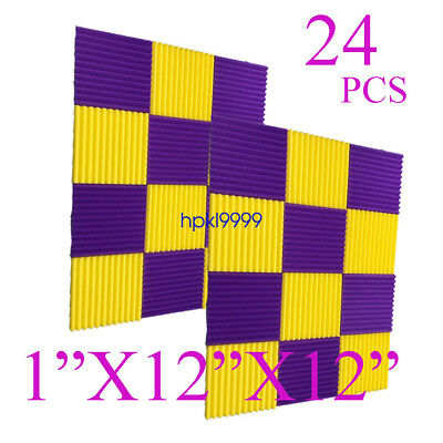 24 Pack 12x12x1Purple YELLOW Acoustic Wedge Studio Soundproofing Foam Wall Tiles