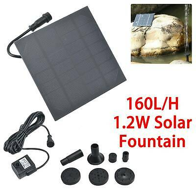 Solar Fountain Submersible Water Pump Power Panel Home Garden Pool Pond 180L/H