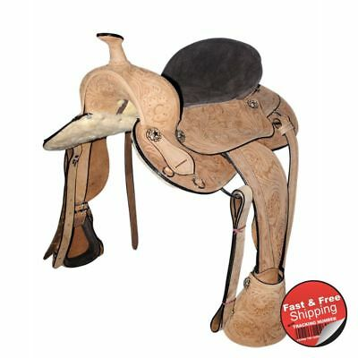 Kids-Natural finish- Handcarved - Leather Western Saddle