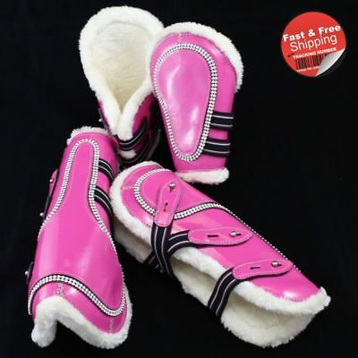 Pink-Bling Faux Patent Leather Tendon/ Fetlock Boots with Fur lining-Set of Four