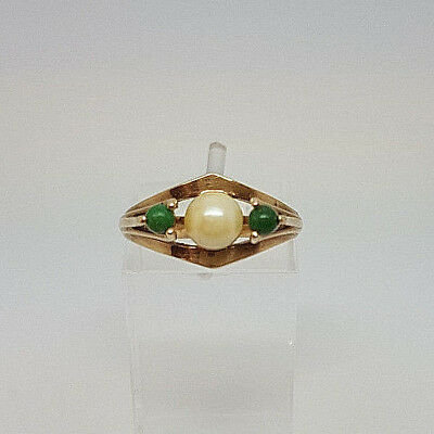 Vintage 9ct Gold Turquoise and Pearl Ladies Dress Ring.  Goldmine Jewellers.