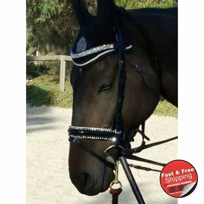 U-Silver Crystal Deluxe Leather bridle with webb-leather Reins