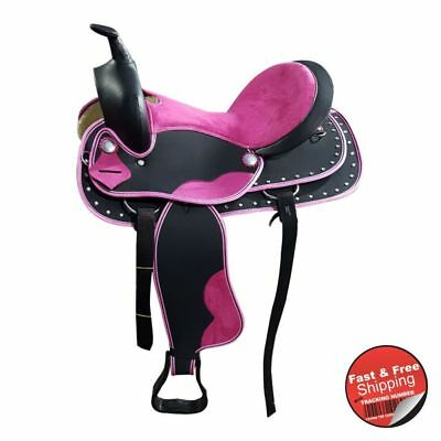Wide Gullet- Pink Accent-Synthetic Western Saddle