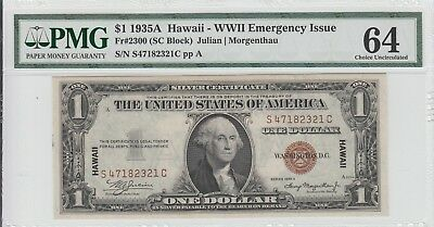 $1 1935-A Hawaii Silver Certificate Pmg 64 Wwii Emergency Issue Looks Gem