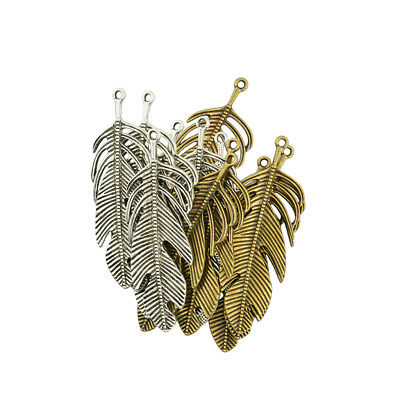 12pcs Vintage Extra Large Filigree Leaf Feathers Pendant Charms Findings