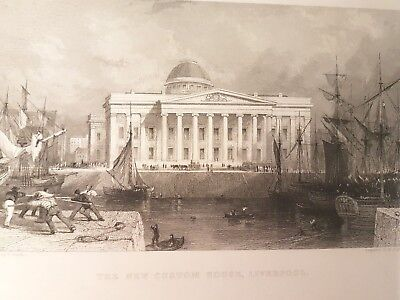 Stahlstich , The new Custom House Liverpool,  um 1840  (Sti-25)