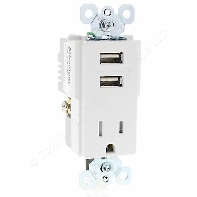 PS White Tamper Resistant 5-15R 15A 125V Receptacle 2.1A USB Charger TM8-USBWCC6